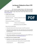 Informasi Penerimaan Mahasiswa Baru UPI 2011