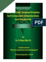 Aplikasi Total Quality Management Berlandaskan Good Governance Dalam Meningkatkan Kinerja Aparat Pelayanan Publik 13437