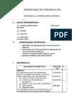 SESION DE APRENDIZAJE DE COMUNICACIÓN