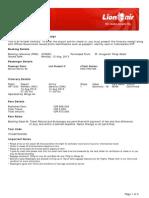 Lion Air eTicket (HYXEZU) - Marliani
