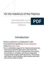 On the Indolence of the Filipinos