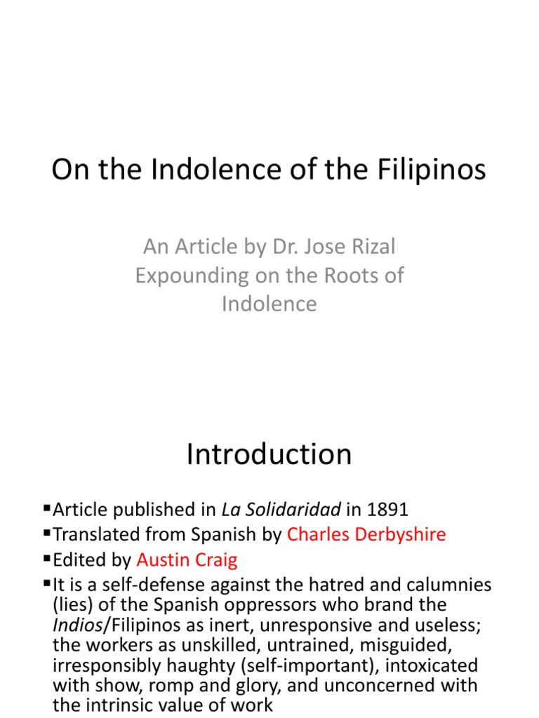 the indolence of the filipino critical analysis