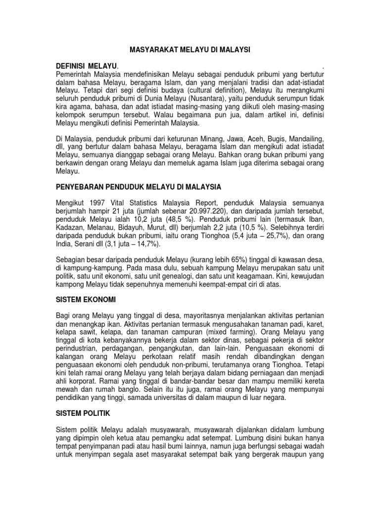 Masyarakat Melayu Di Malaysi