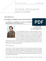 Select 100 Legal Articles of Kpc Rao and Dr Padma_ Doctrine of Autrefois Acquit and Autrefois Convict