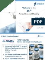 Biocon AGM Prstn 2013