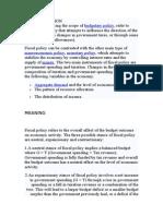 Fiscal Economics Policy