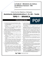 Cadastro - Prova - Assistente Administrativo I II e III - Tarde - Tipo 1