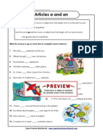English Grammar Worksheet About Articles
