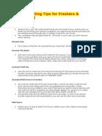 Resume Writing Tips for Freshers