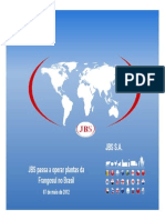 Comunicado ao Mercado sobre JBS passa a operar plantas da Frangosul no Brasil