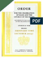 ORDO 2012/2013 - Order for celebrations in October