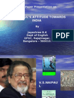 Vs Naipaul's Attitude Towards India by Jayshree BK