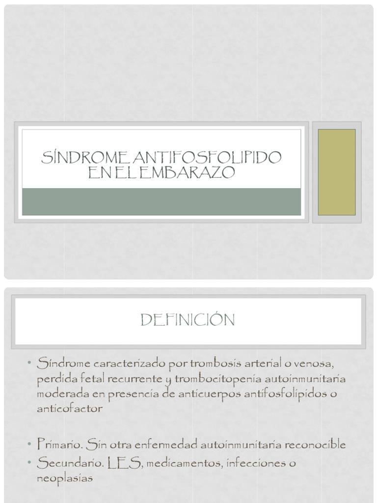 síndrome antifosfolípido embarazo