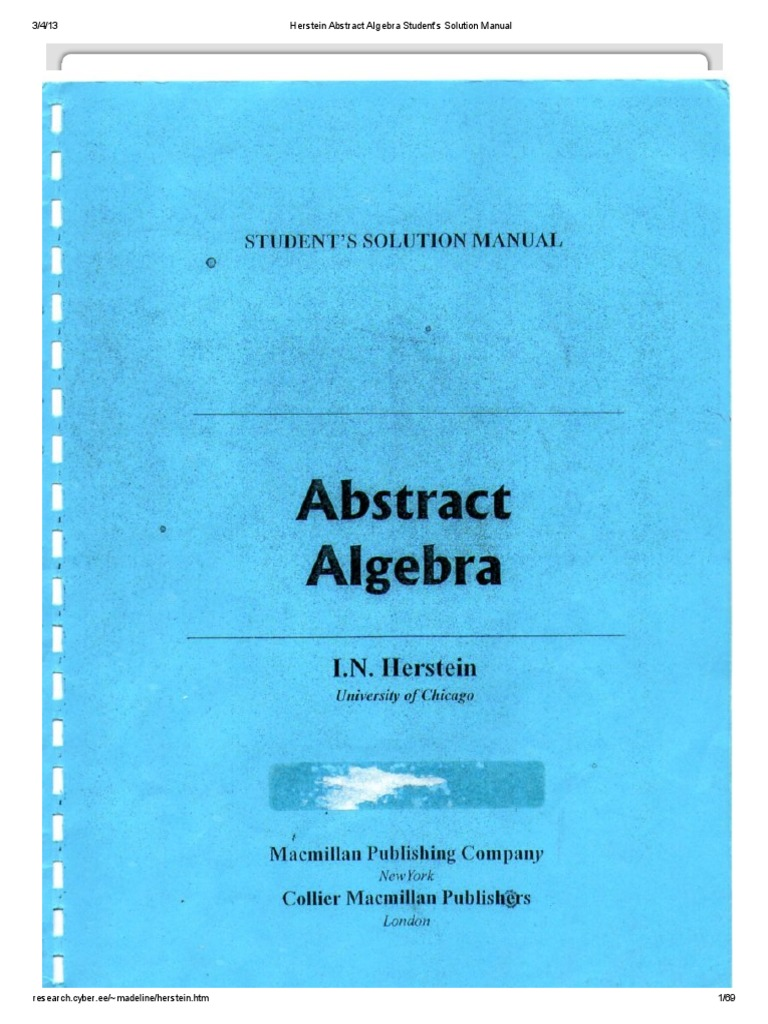 herstein abstract algebra student s solution manual rh es scribd com Solution of Equations in Algebra Solutions to Algebra Equations
