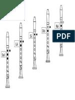 Tabela com posiçao das primeiras notas na flauta