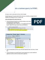SAP Steps to create a custom query in POWL