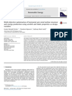 Multi Objective Optimisation of Horizontal Axis Wind Turbine Structure and Energy Production Using Aerofoil and Blade Properties as Design Variables 2014 Renewable Energy