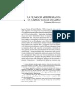 La Filosofia Mediterranea Di Ignacio Gómez de Liaño