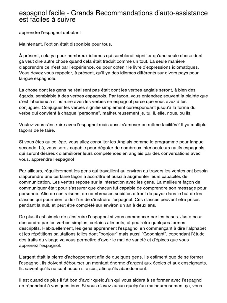 Espagnol Facile Grands Recommandations D Auto Assistance Est Faciles A Suivre Langue Espagnole Verbe