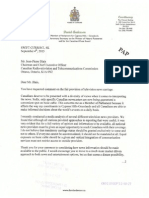 Letter from David Anderson to the CRTC