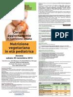 """Locandina Corso SINVE Ancona novembre 2013 """"Nutrizione vegetariana in età pediatrica"""""""