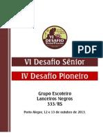 VI Desafio Senior IV Desafio Pioneiro 2013