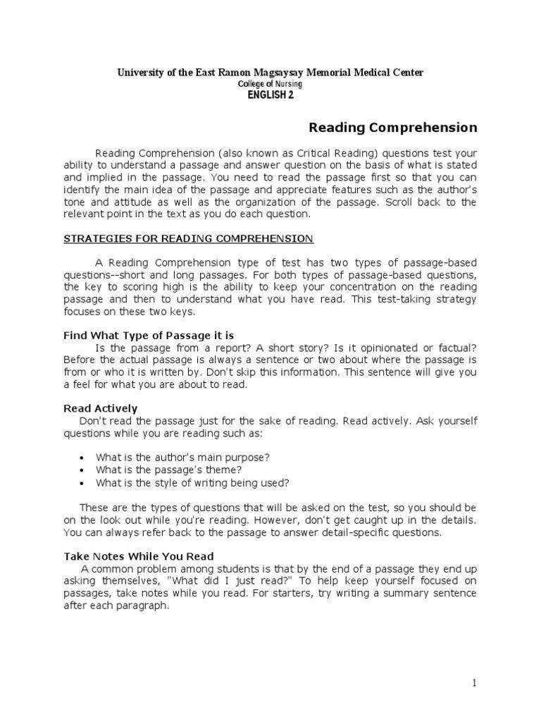 - Reading Comprehension Reading Comprehension Idea