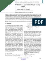 Quaternary Arithmetic Logic Unit Design Using VHDL