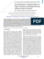 Physico-Chemical Properties of Spring Water in Kabare and Baragwi Locations, Gichugu Division Kirinyaga County of Kenya