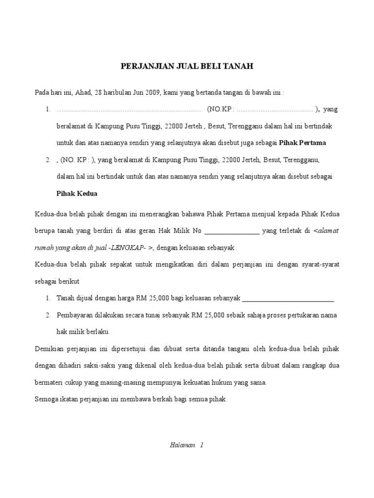 surat perjanjian jual beli tanah kung