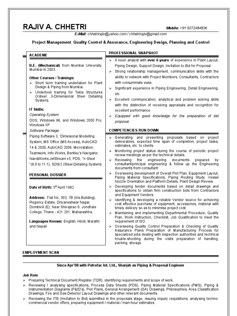 resume for piping design engg  rajiv chhetri