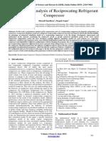 Performance Analysis of Reciprocating Refrigerant Compressor
