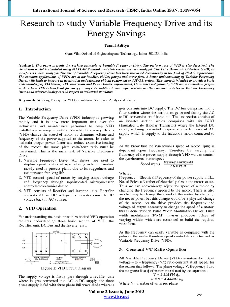Research To Study Variable Frequency Drive And Its Energy Savings Further Circuit Diagram Together With Vfd Power Inverter Electronics