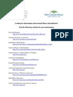 Mental Illness Resources - Websites