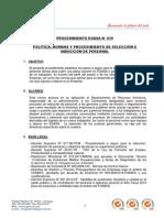 19-00 PROCEDIMIENTO N° 019 - POLÍTICAS, NORMAS Y PROCEDIMIENTO DE SELECCIÓN E INDUCCIÓN DE PERSONAL