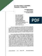 Martha Nussbaum - Forma y Contenido, Filosofia y Literatura (Estudios de Filosofia n11 Feb 1995)