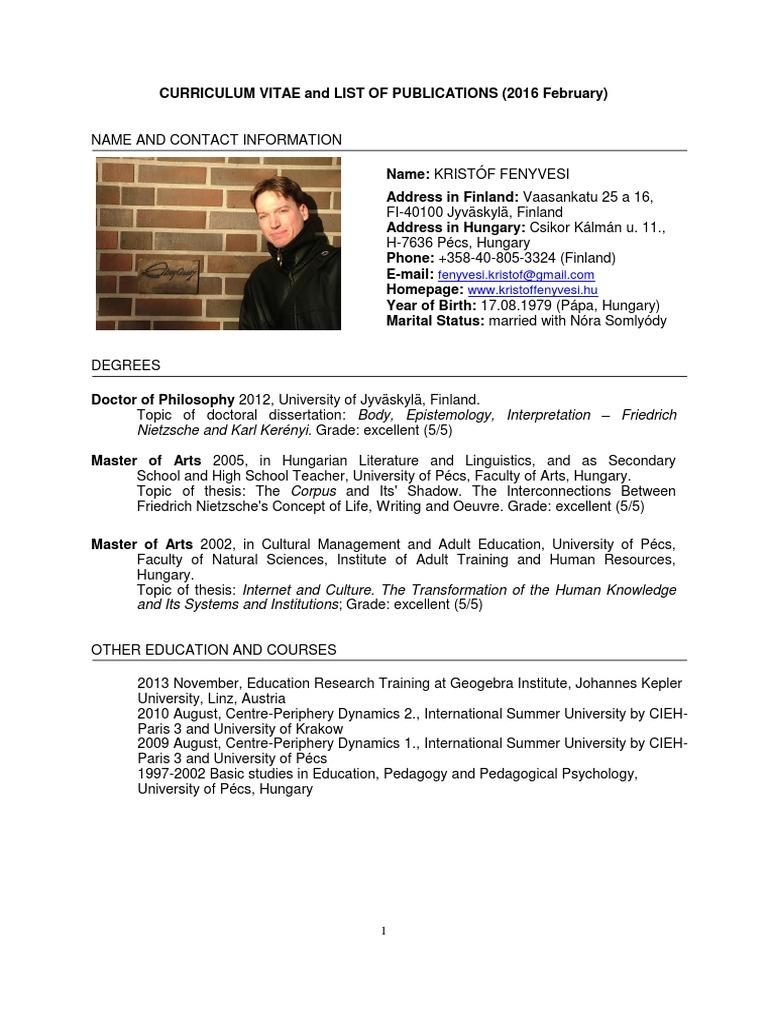 Curriculum vitae dissertation research