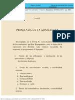 Curso de teoría del conocimiento - Tomo I - Programa
