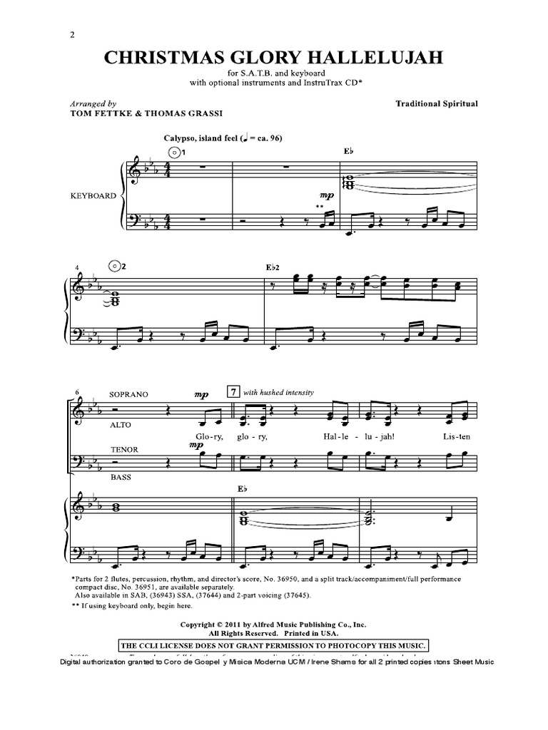 Christmas Hallelujah Sheet Music.Christmas Glory Hallelujah Leisure