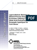 Lignocellulosic Biomass to Ethanol Process Design and Economics Utilizing Co-Current Dilute Acid Prehydrolysis and Enzymatic Hydrolysis for Corn Stover