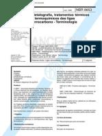 NBR 8653 TB 249 - Metalografia Tratamentos Termicos e Termoquimicos Das Ligas Ferrocarbono - Terminologia - Norma Cancelada