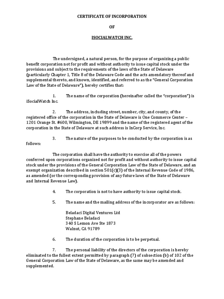 Isocialwatch Inc Delaware Articles Of Incorporation 501c
