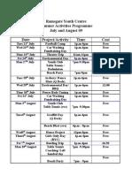 Summer Activities Programme 09