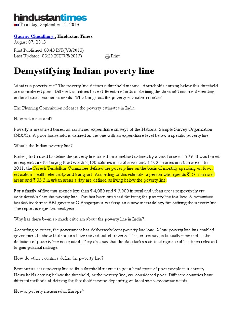 demystifying indian poverty line | poverty threshold | poverty