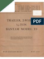Tm 10-1281 TRAILER 2-WHEEL 0,25-TON BANTAM MDL T3