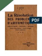 Mathématiques Classiques La Résolution des Problèmes d'Arithmétique CE-CM-CS Maitre
