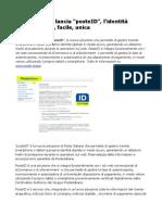 """Poste Italiane lancia """"posteID"""", l'identità digitale sicura, facile, unica"""