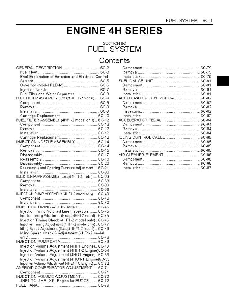 Isuzu 4hf1 Wiring Diagram Grumman Llv Engine Izusu 4h Shop Manual Electrical Connector Throttle