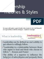 LeadershipLeadership Theories & Styles Leadership Theories & Styles