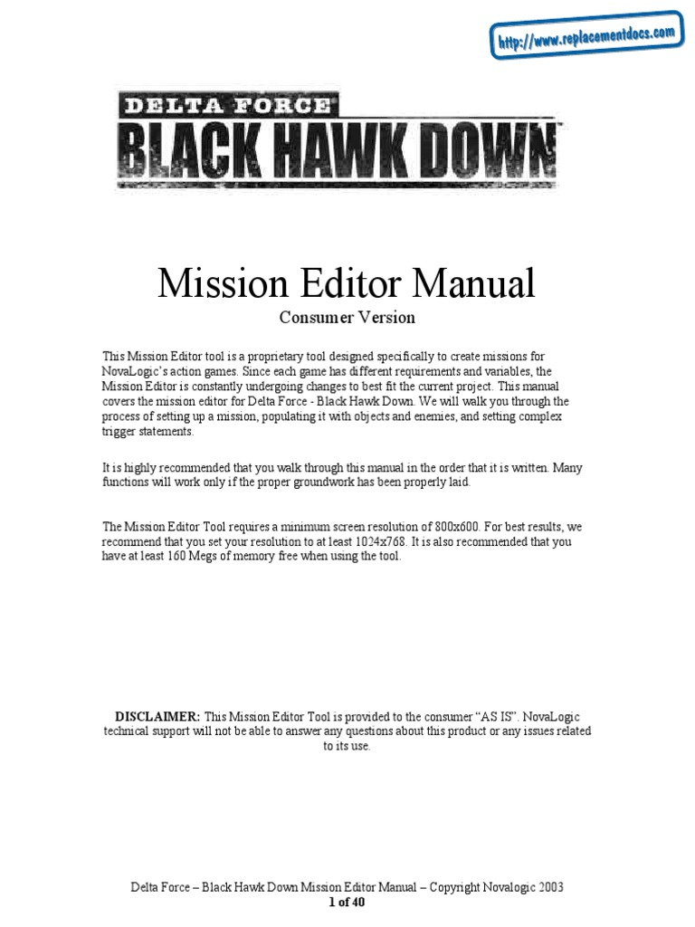 Delta Force - Black Hawk Down - Manual - PC | Menu (Computing) | Social  Security Number